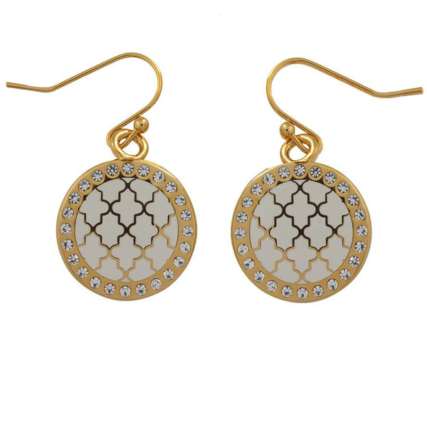 Agama Sparkle Cream & Gold Earrings