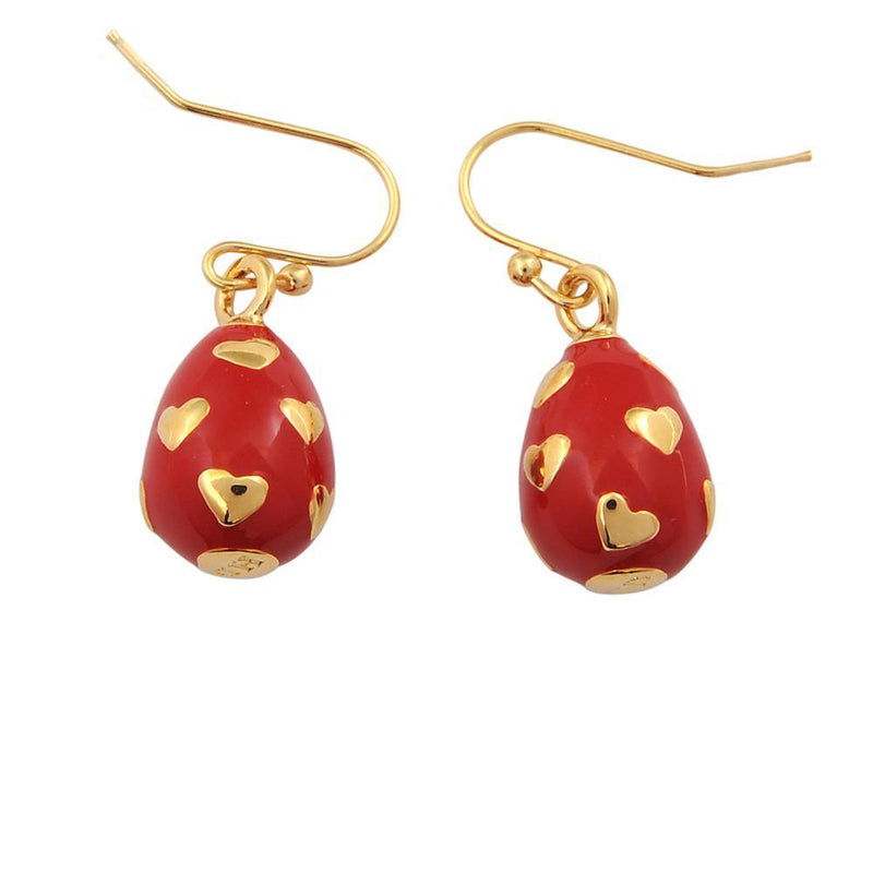 Heart Egg Red & Gold Earrings