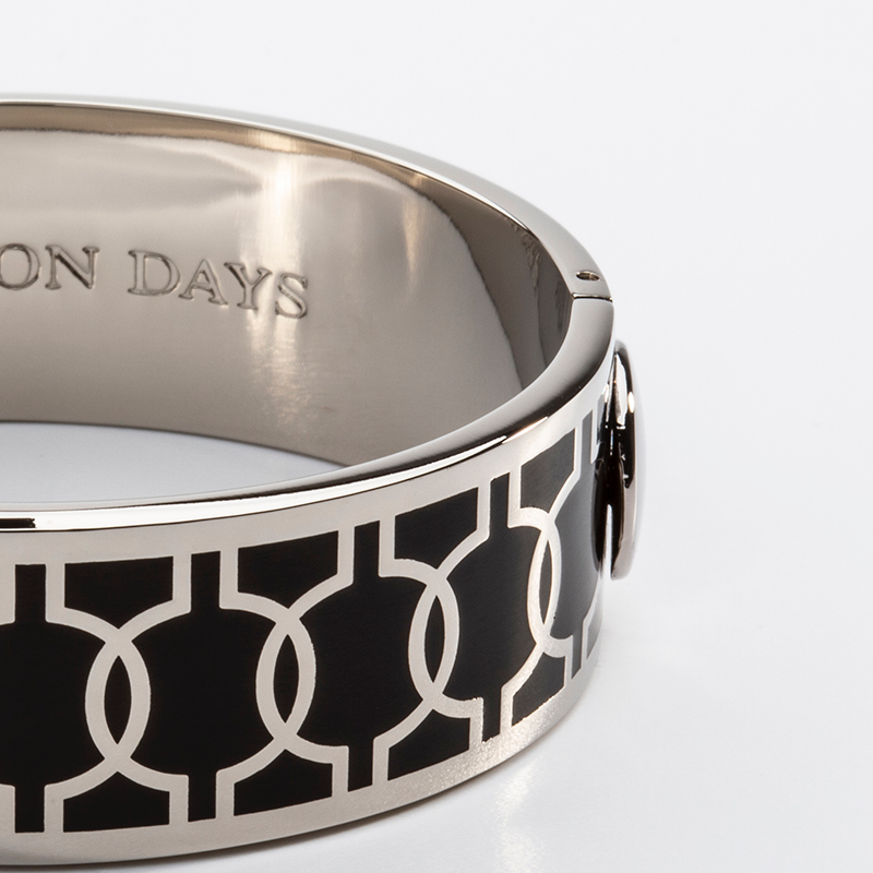 Geometric Circle Black & Palladium Bangle