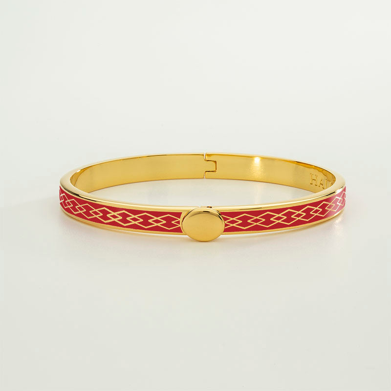 Skinny Parterre Chain Red & Gold Bangle
