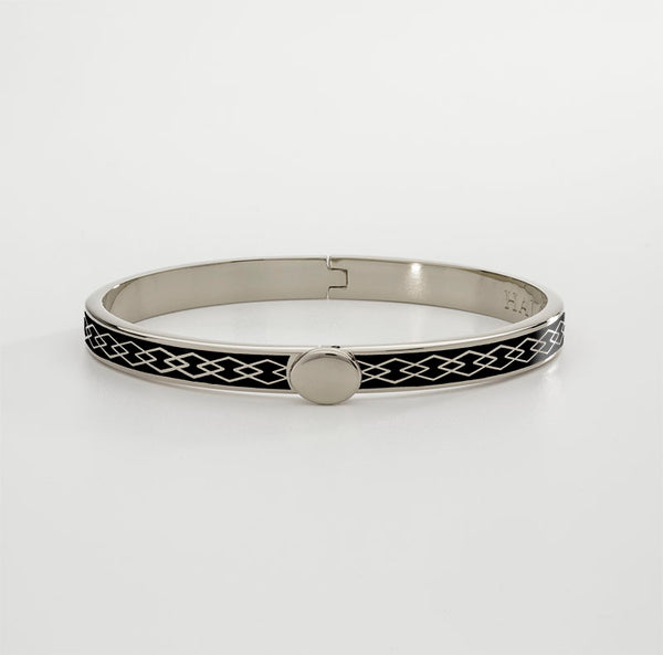 Skinny Parterre Chain Black & Palladium Bangle