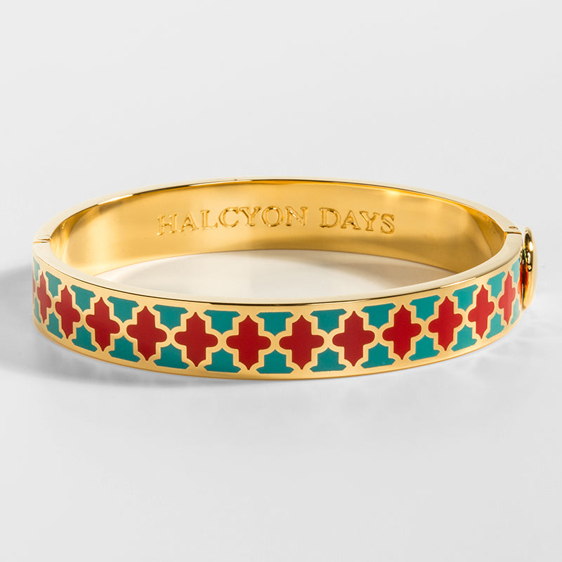 Agama Turquoise, Red & Gold Bangle
