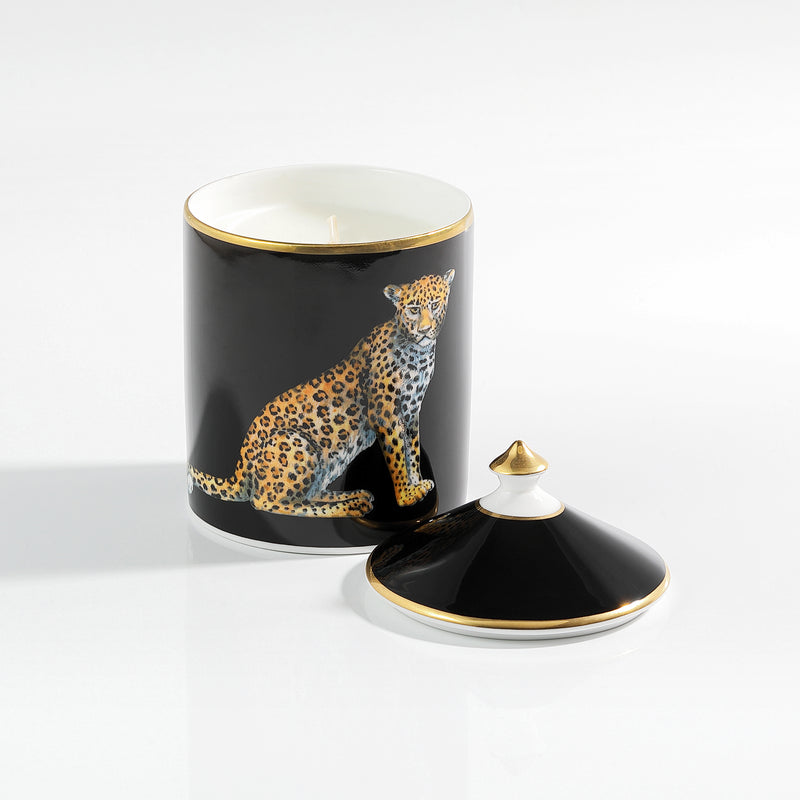 Leopard Black Lidded Candle