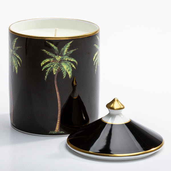 Palm Black Lidded Candle