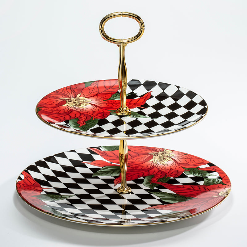 Parterre Black with Poinsettia 2 Tier Coupe Plate Stand