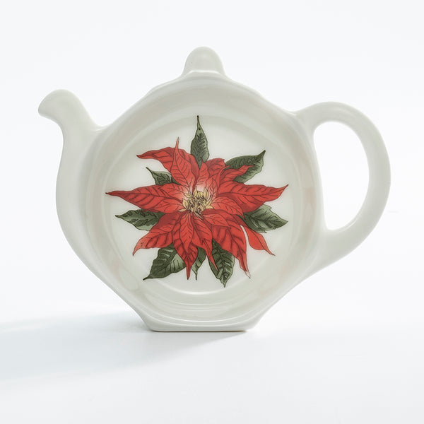 Parterre Black with Poinsettia Tea Bag Tidy