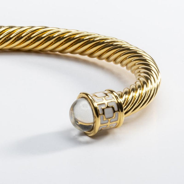 Maya Torque Diamond & Gold Bangle