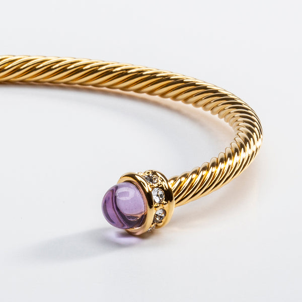 Skinny Sparkle Amethyst & Gold Torque Bangle