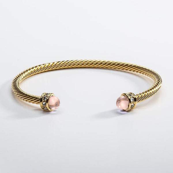 Skinny Sparkle Rose Quartz & Gold Torque Bangle