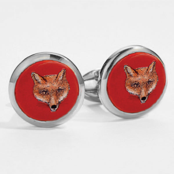Fox Head Red Round Cufflinks