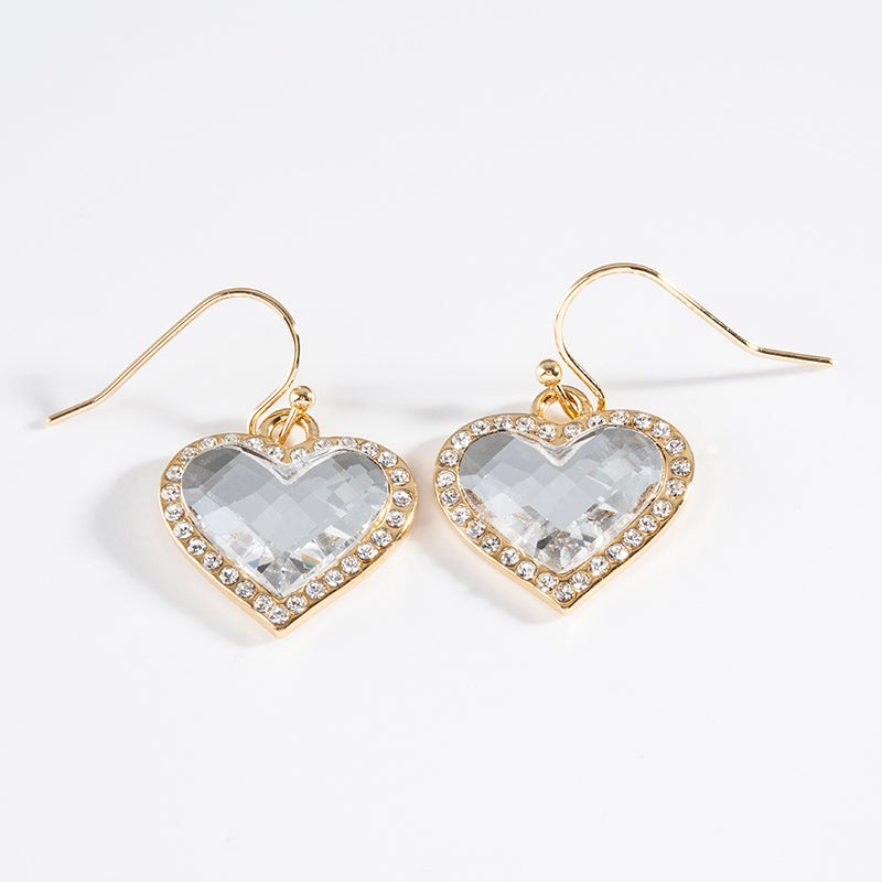 Facet Heart White Diamond & Gold Earrings