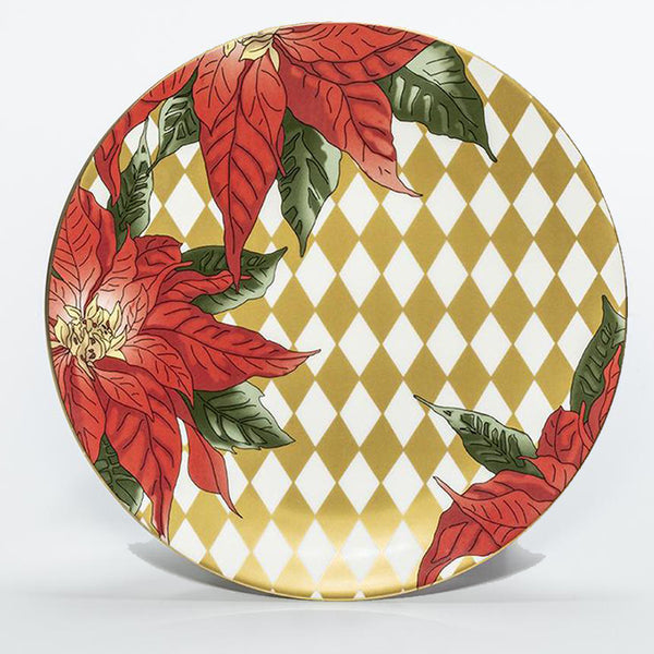 "Parterre Gold with Poinsettia - 10"" Coupe Plate"