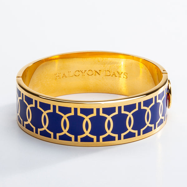 Geometric Circle Cobalt & Gold Bangle