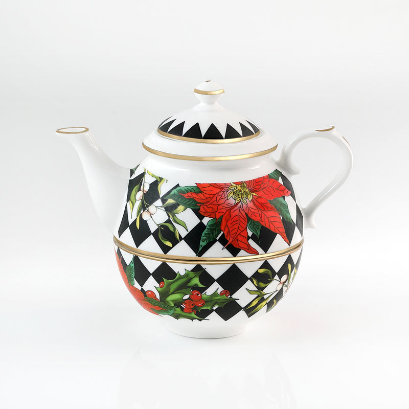 Parterre Black with Poinsettia Tea for One