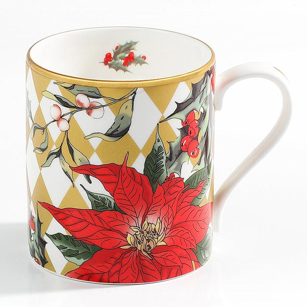 Parterre Gold With Poinsettia Mug