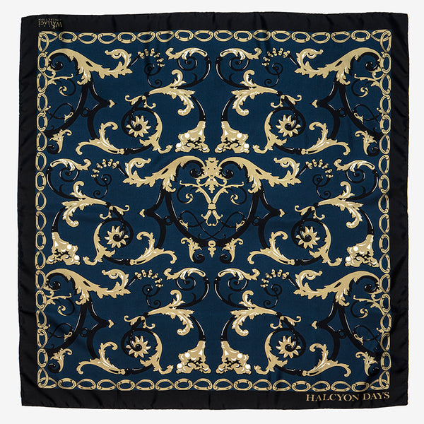 Wallace Ballustrade Navy Silk Scarf