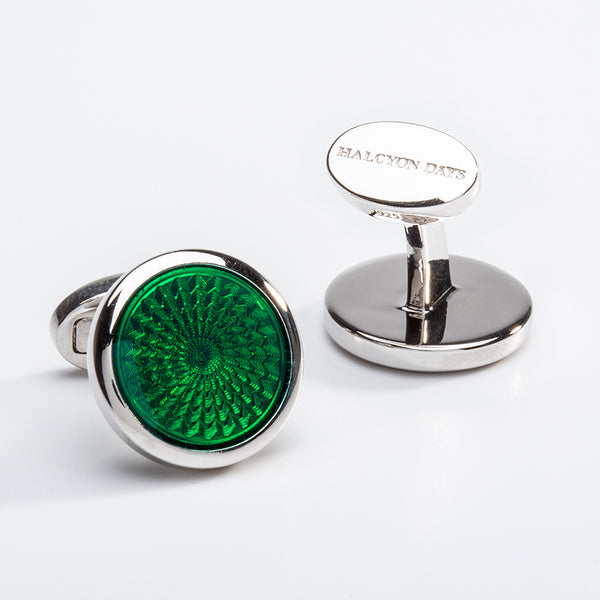 Agama Engine Turned Green Sterling Silver Round Cufflinks