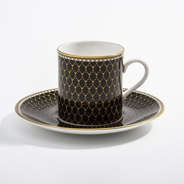 Antler Trellis Coffee Cup & Saucer Black