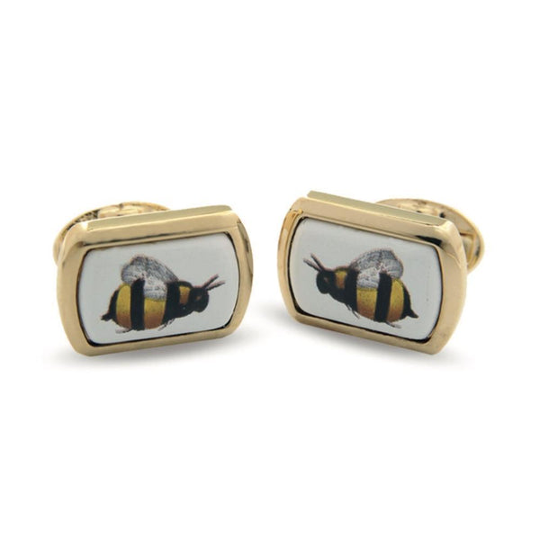 Bee Rectangular Gold Cufflinks