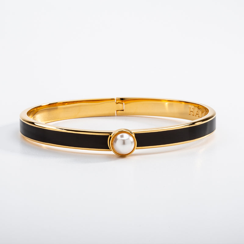 Skinny Cabochon Pearl Black & Gold Bangle