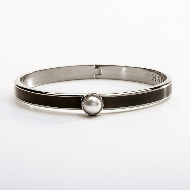 Skinny Cabochon Pearl Black & Palladium Bangle