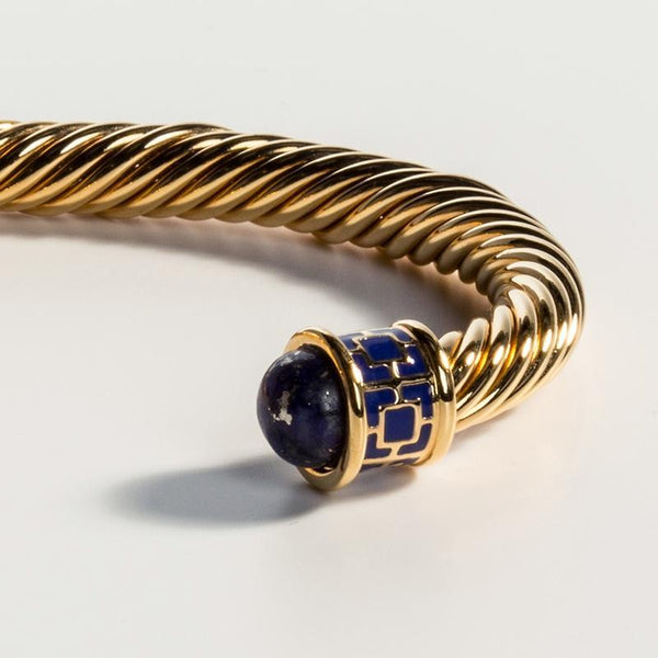 Maya Torque Deep Cobalt & Gold Bangle