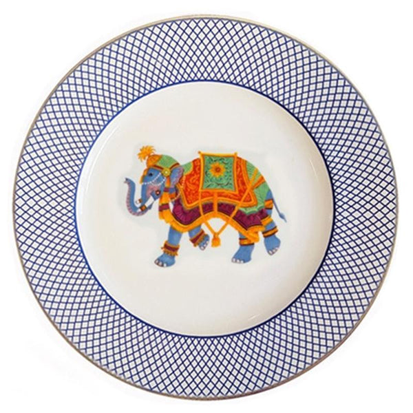 "Ceremonial Indian Elephant White 8"" Plate"