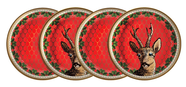 Antler Trellis & Stag Red Coaster Set x 4