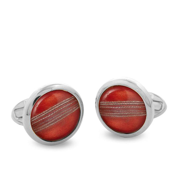 Cricket Ball Palladium Round Cufflinks