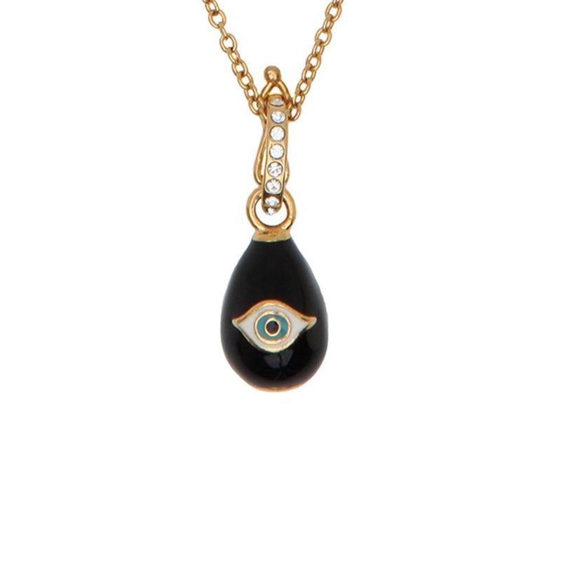 Evil Eye Egg Charm Pendant Navy & Gold