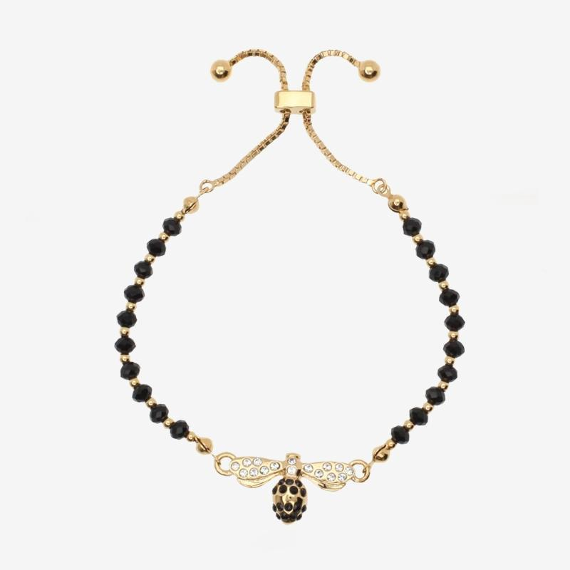 Bee Sparkle Black & Gold Beaded Friendship Bangle