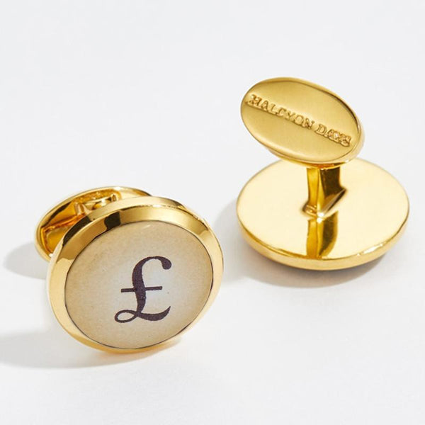 Pound & Dollar Round Gold Cufflinks