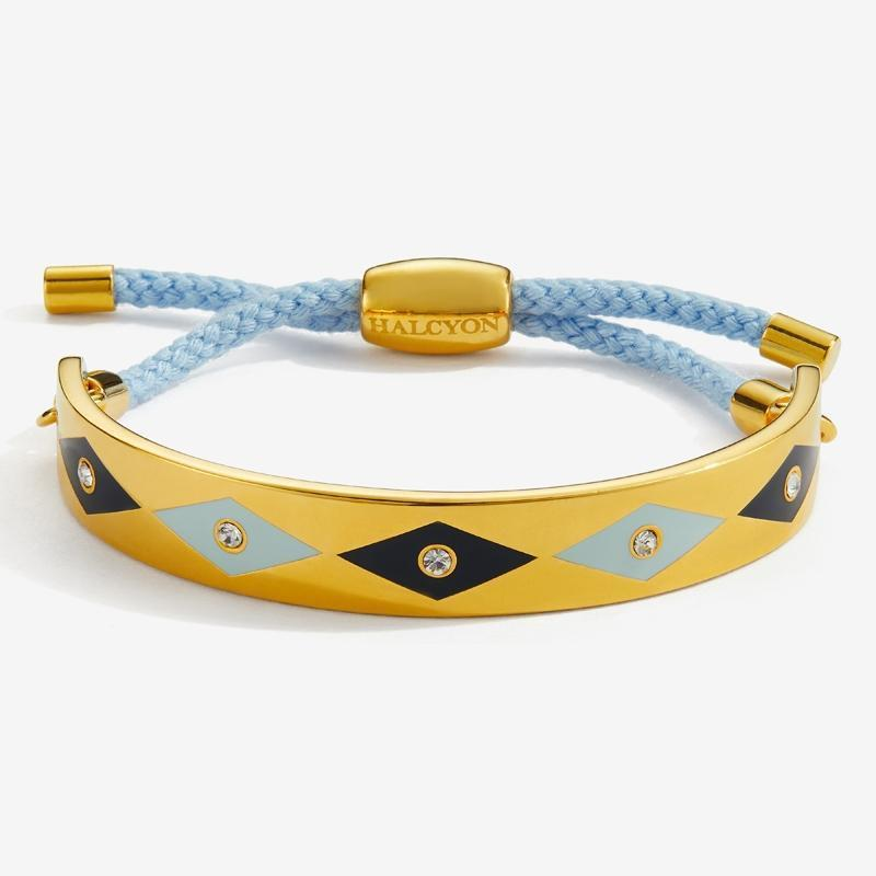Sparkle Pale Blue Navy & Gold Friendship Bangle