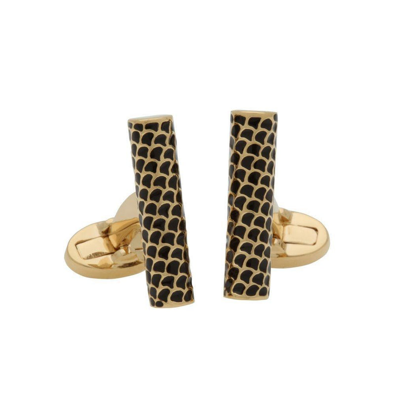 Salamander Single Tube Black & Gold Cufflinks