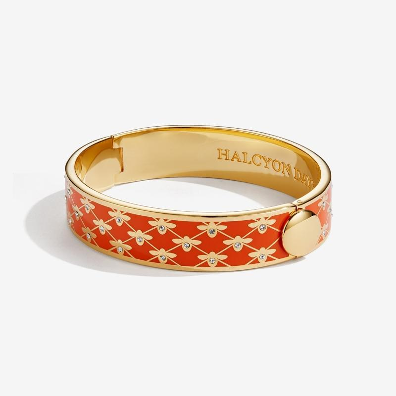 Bee Sparkle Trellis Orange & Gold Bangle