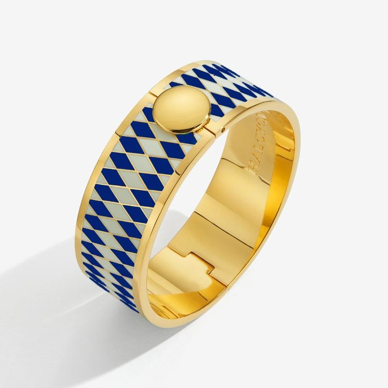 Parterre Deep Cobalt Cream & Gold Bangle