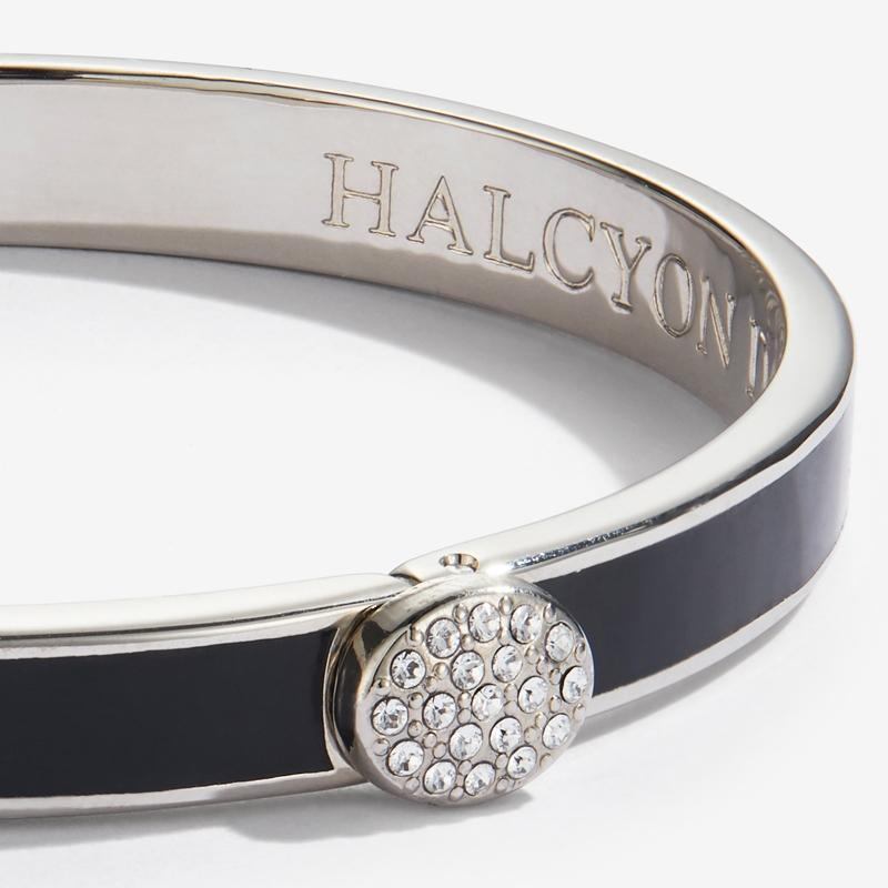 Skinny Pave Button Black & Palladium Bangle