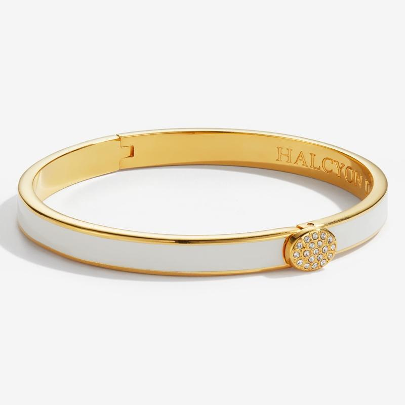 Skinny Pave Button Cream & Gold Bangle