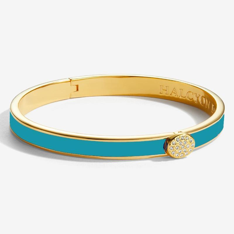 Skinny Pave Button Turquoise & Gold Bangle