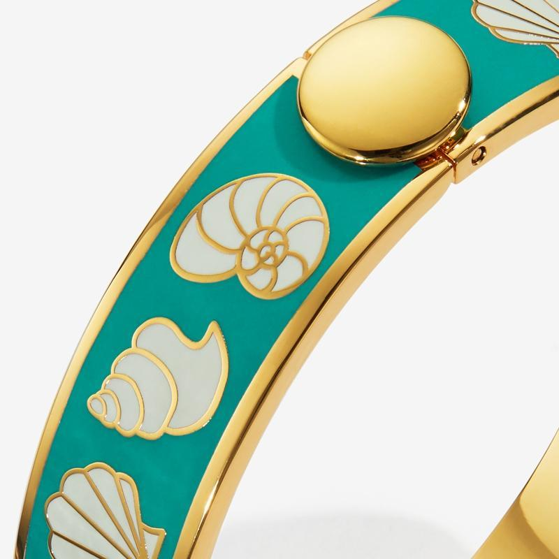 Shells Turquoise Cream & Gold Bangle