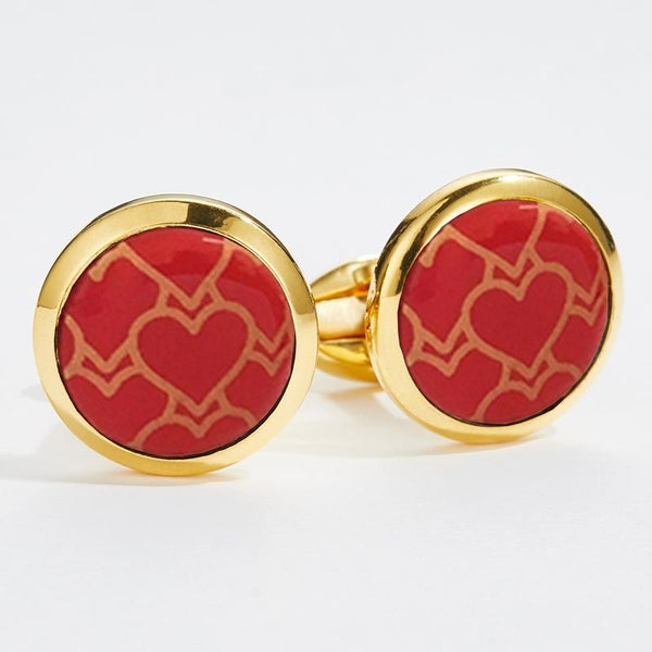 Red Heart Trellis Round Gold Cufflinks