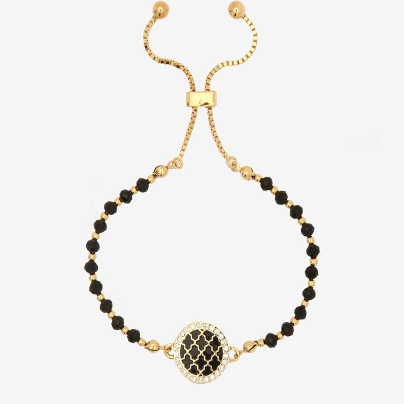 Agama Sparkle Black & Gold Beaded Friendship Bracelet