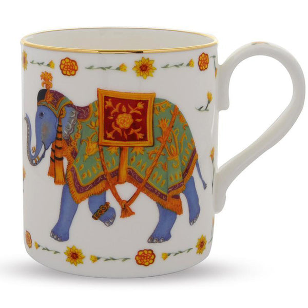 Ceremonial Indian Elephant Mug White