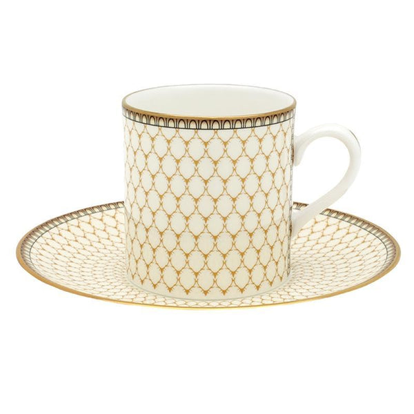 Antler Trellis Set of 6 Coffee Cups & Saucers Ivory