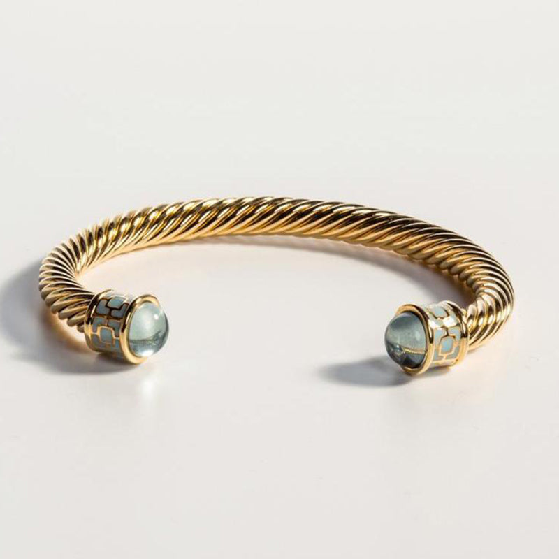 Maya Torque Aquamarine & Gold Bangle