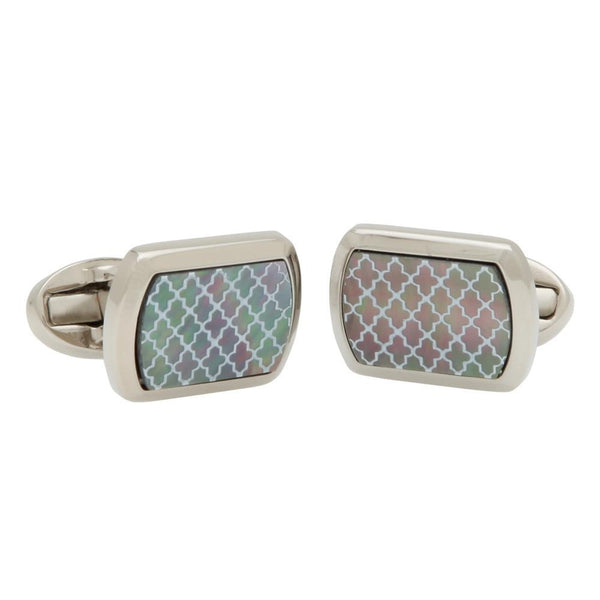 Mother of Pearl Agama Black & Palladium Rectangular Cufflinks