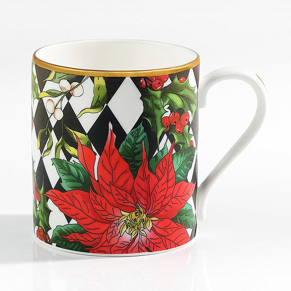 Parterre Black With Poinsettia Mug