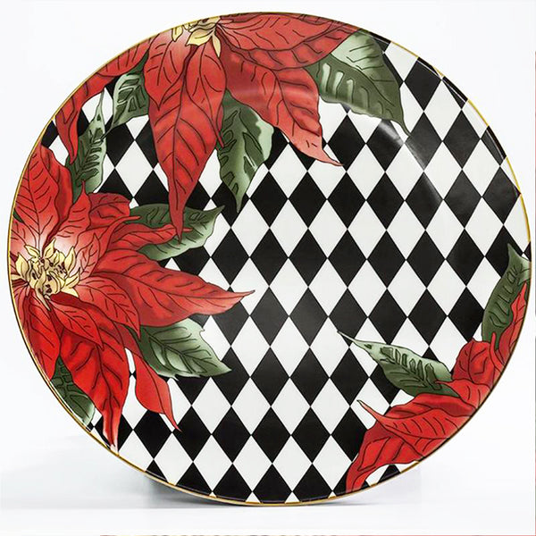"Parterre Black with Poinsettia  10"" Coupe Plate"