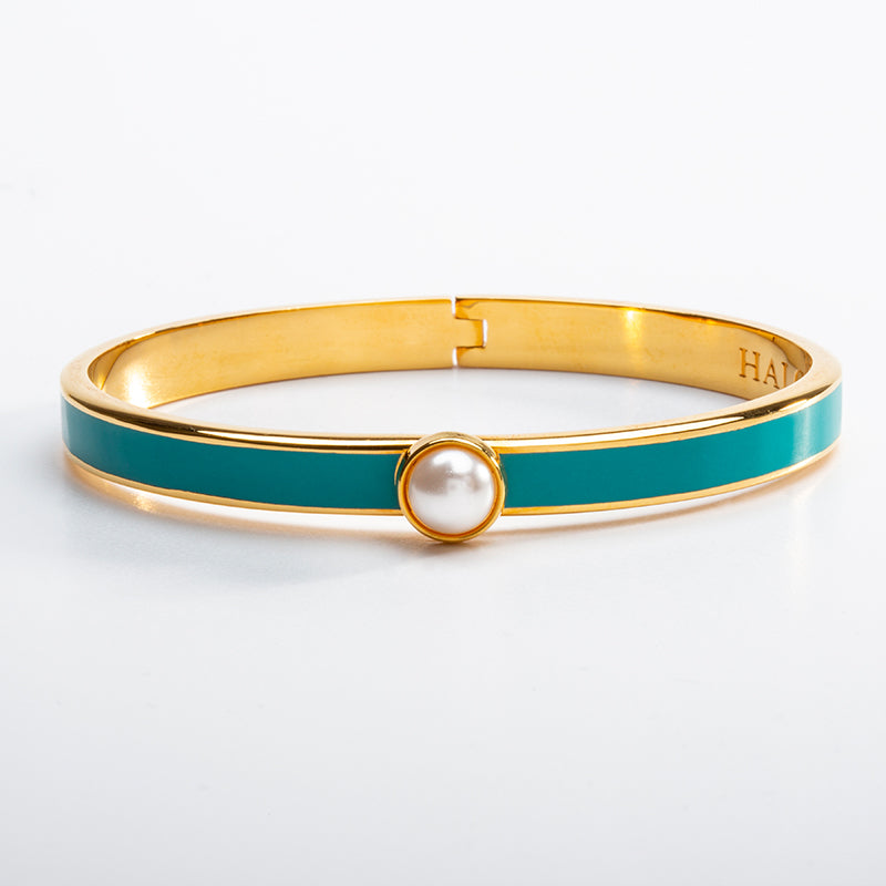 Skinny Cabochon Pearl Turquoise & Gold Bangle