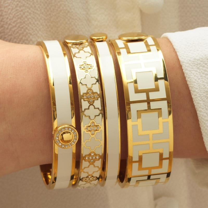 Mosaic Cream & Gold Bangle